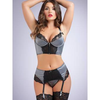 Lovehoney Treasure Me Grey Longline Underwired Bra Set