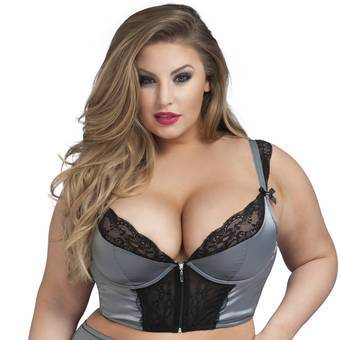 Lovehoney Treasure Me Front-Fastening Grey Longline Underwired Bra