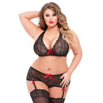 Lovehoney Black Lace Underwired Bra and Shorts Set