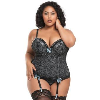Lovehoney Plus Size Silver Push-Up Basque Set