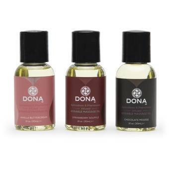DONA Pheromone-Infused Flavoured Massage Oil Gift Set (3 x 30ml)
