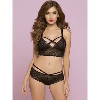 Seven 'til Midnight Black Lace longline Bralette with Lattice Back