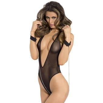 Rene Rofe Deep Plunge Mesh Body and Cuffs Set