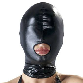Bad Kitty Wet Look Open Mouth Bondage Hood