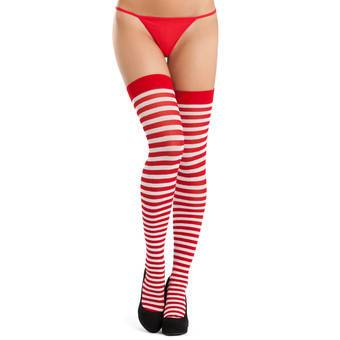 Lovehoney Red and White Striped Stockings