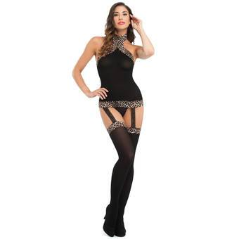 Lovehoney Black Suspender Dress with Leopard Trim