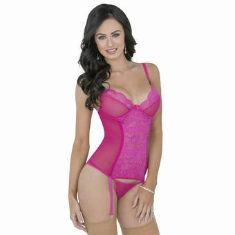 Escante Hot Pink Sheer Lace Bustier Set