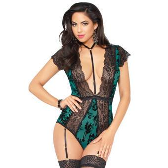 Seven 'til Midnight Green Flocked Mesh and Lace Plunge Body
