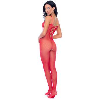 Rene Rofe Red Fishnet Crotchless Bodystocking