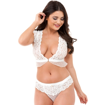 Lovehoney Celeste White Front-Fastening Lace Bra Set