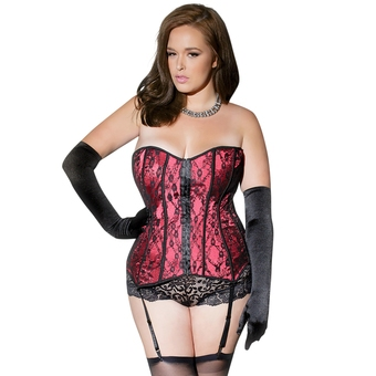 Coquette Plus Size Red Satin and Lace Corset