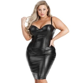 Lovehoney Plus Size Fierce Leather-Look Bodycon Dress