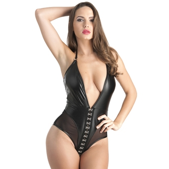 Lovehoney Fierce Plunging Mesh and Leather-Look Body