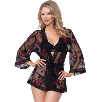 Seven 'til Midnight Black Floral Embroidered Short Robe