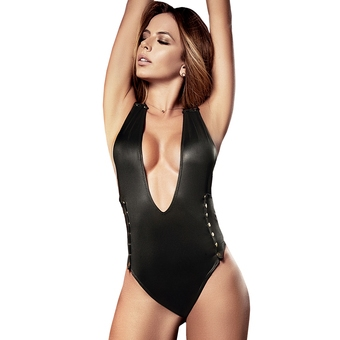Mapale Black Wet Look Plunge Studded Body