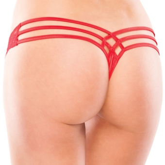 Coquette Red Lace and Lycra Cage-Back Thong