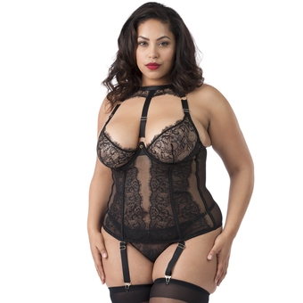 Lovehoney Plus Size Midnight Mirage Black Lace Basque Set