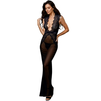Dreamgirl Long Black Heart Detail Plunge Gown Set