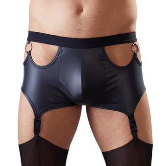 Svenjoyment Wet Look Cut-Out Boxers with Suspenders