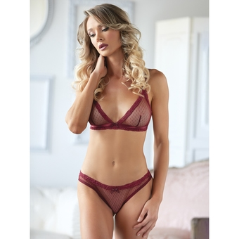 Allure Burgundy Lace Bra with Crotchless Knickers