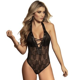 Mapale Black Crotchless Halterneck Lace-Up Body