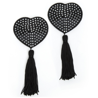 Peekaboos Premium Black Satin Nipple Pasties with White Stones & Tassels