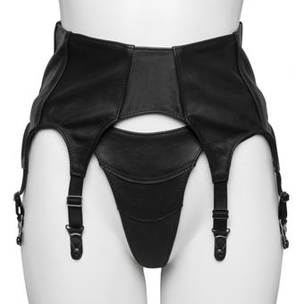 Black Leather Six Strap Suspender Belt