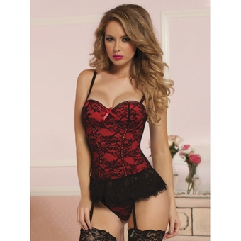 Seven 'til Midnight Red Lace Bustier Set