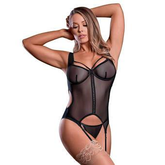Exposed Black Sheer Mesh Bustier Set