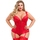Lovehoney Plus Size Treasure Me 2 Red Push-Up Basque Set