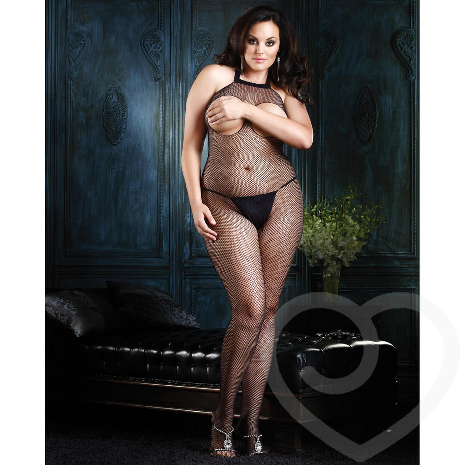 Leg Avenue Plus Size Seamless Fishnet Halter Bodystocking