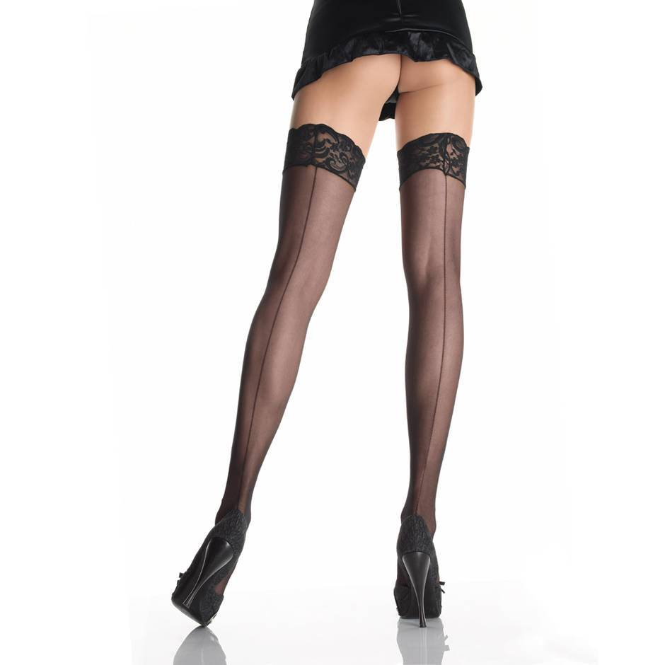 Leg Avenue Plus Size Sheer Backseam Lace Top Stockings