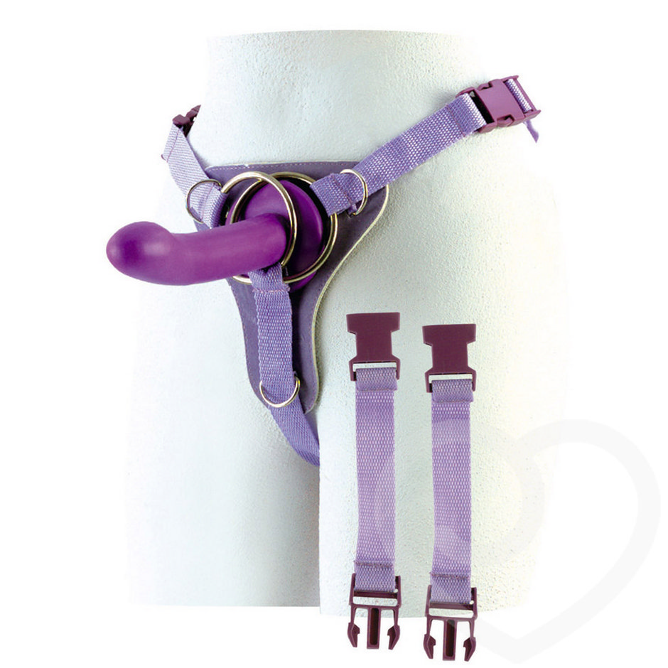 Double Ring Harness with Silicone Dildo