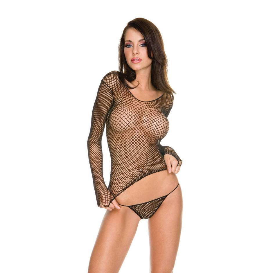 Music Legs Long Sleeve Fishnet Top