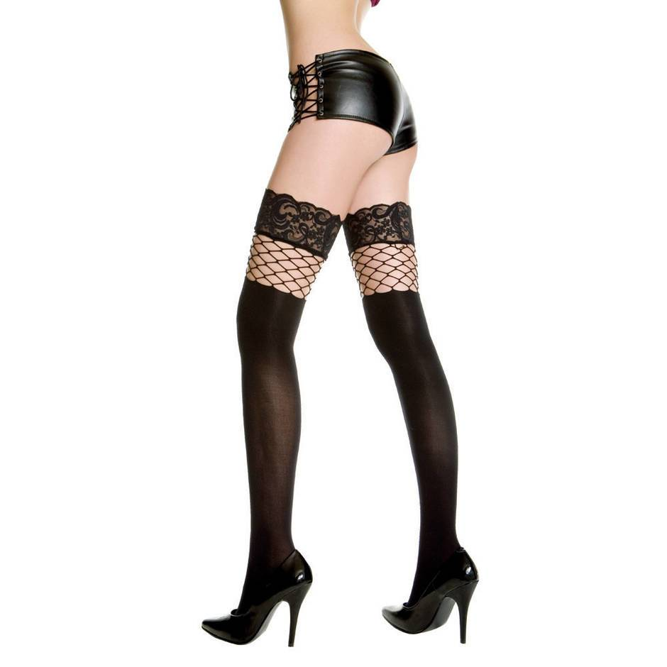 Music Legs Opaque Suspender Stockings With Fishnet Insert
