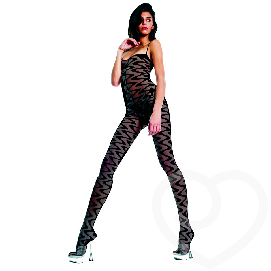 Music Legs Crotchless Waved Bodystocking