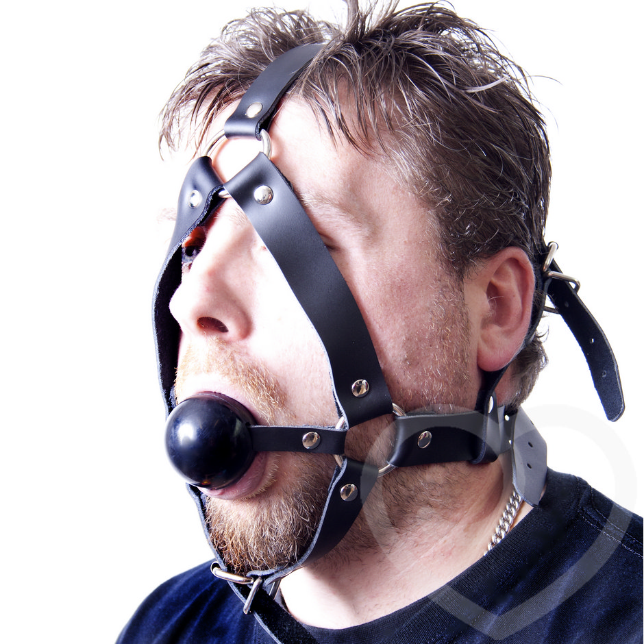 Bondage Boutique Deluxe Leather Face Harness with Ball Gag