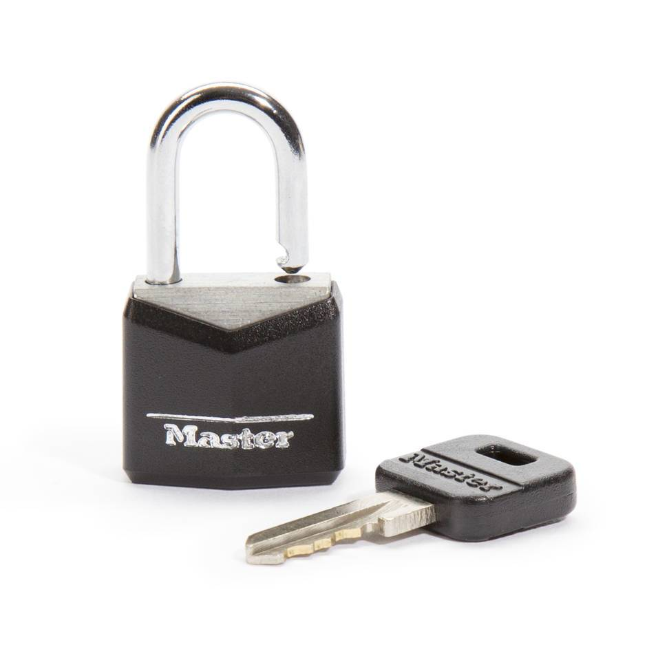 CB Black Covered Brass Padlock (1 key)