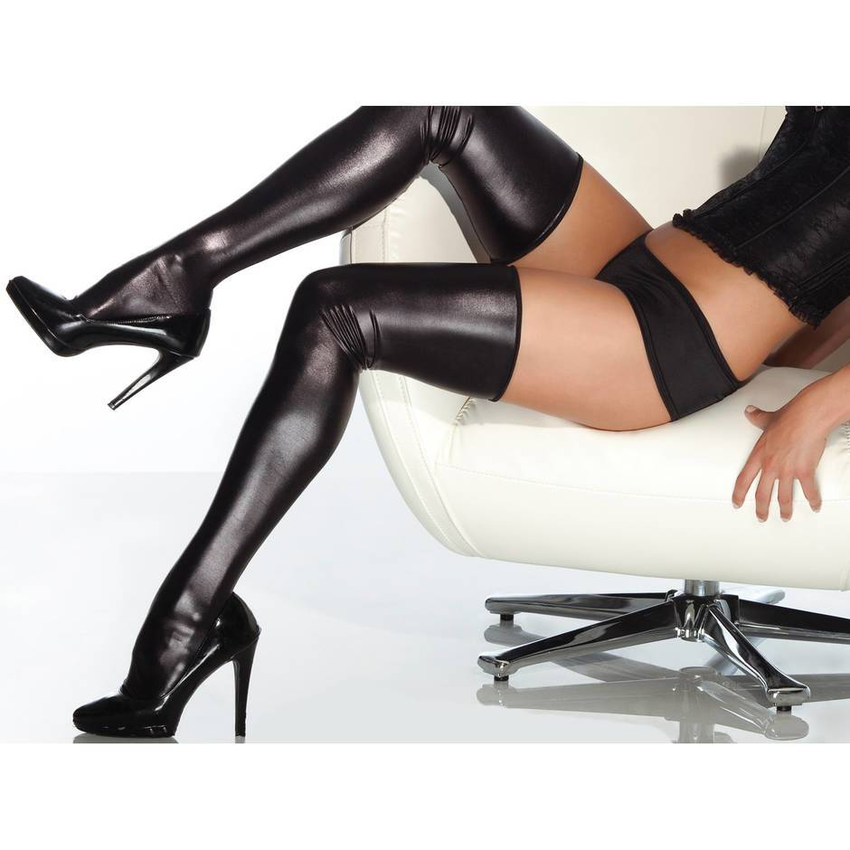 Coquette Darque Plus Size Wet Look Thigh High Stockings