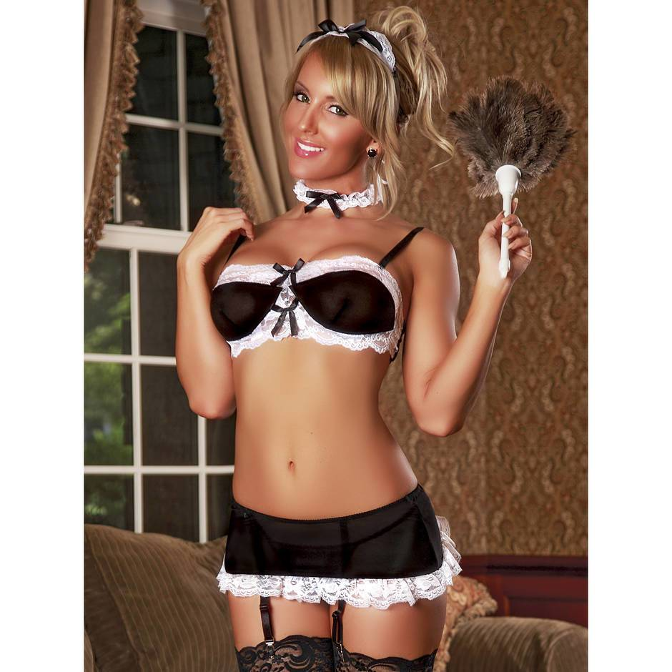 Exposed Sexy French Maid Bra Set