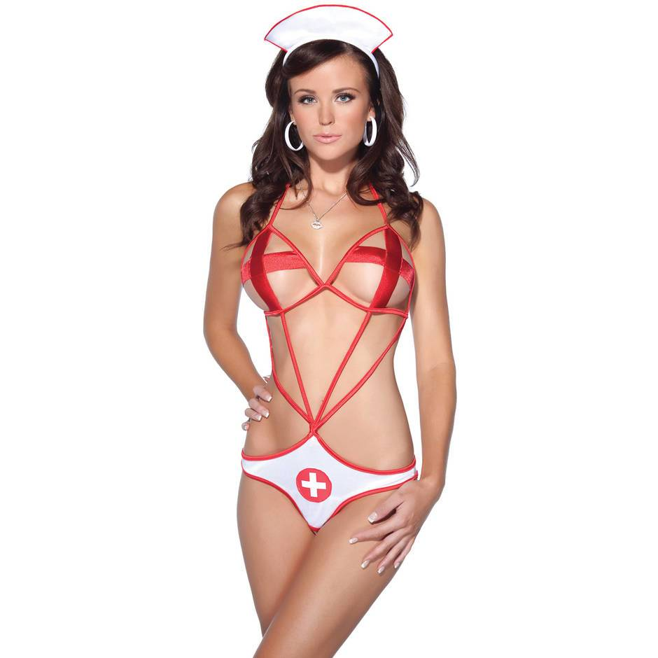 Coquette Nurse Crotchless Teddy Set
