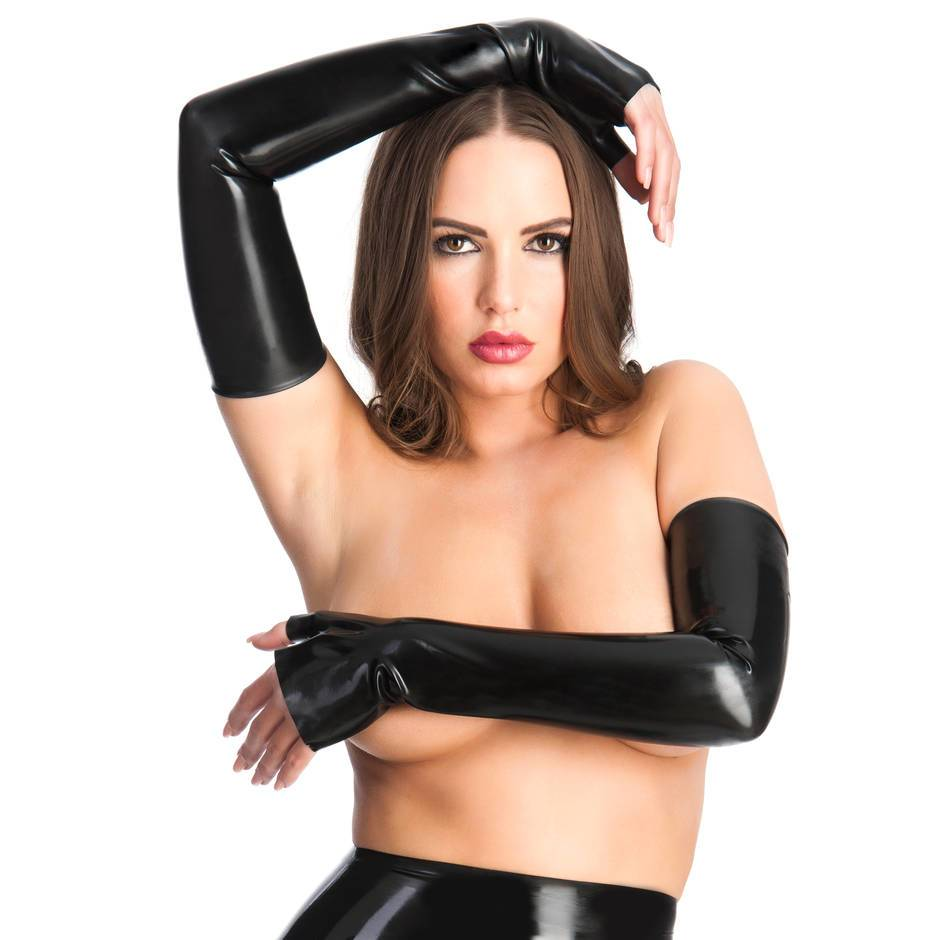 Rubber Girl schulterlange Stulpen aus Latex