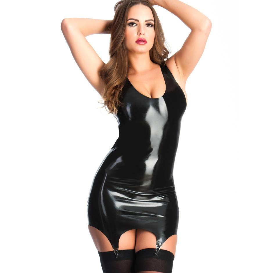 Rubber Girl Latex Mini Dress with Suspenders