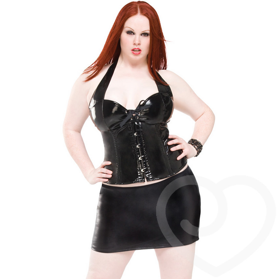 Coquette Darque Plus Size Wet Look Mini Skirt