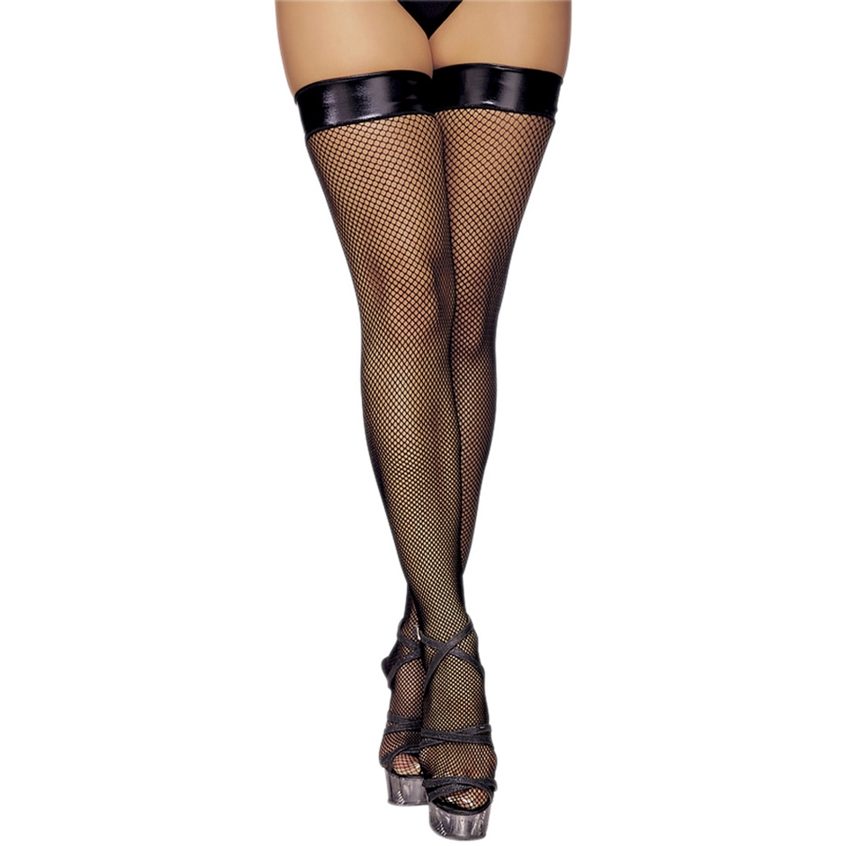 Classified Fishnet Stockings with PVC Top
