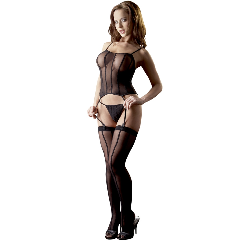 Mandy Mystery Sheer Bustier G-String and Stockings Set