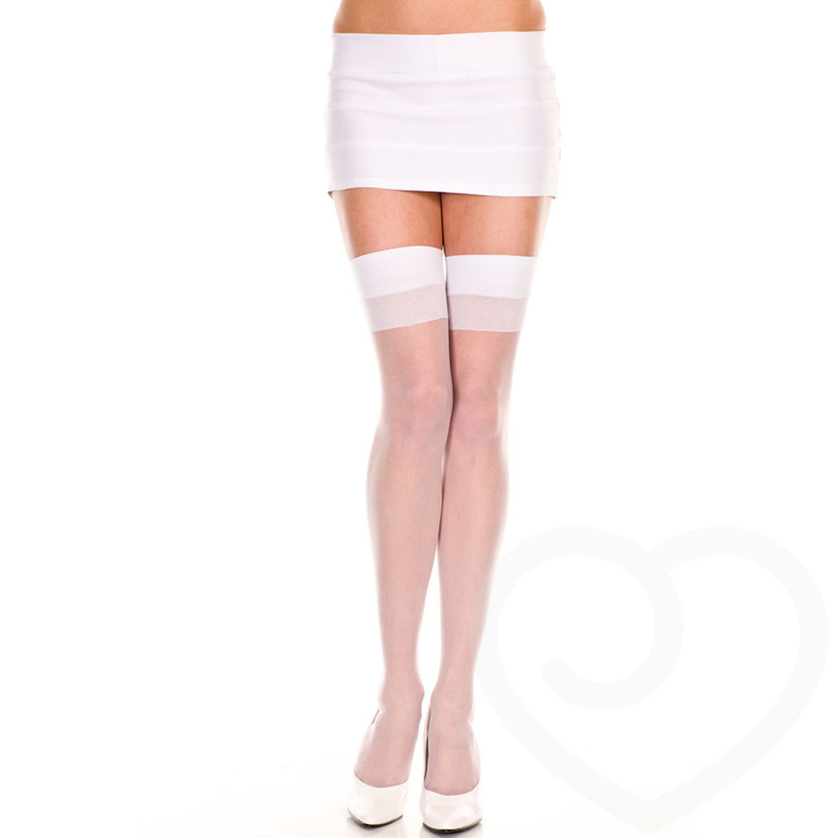 Music Legs Thigh High Suspender Stockings
