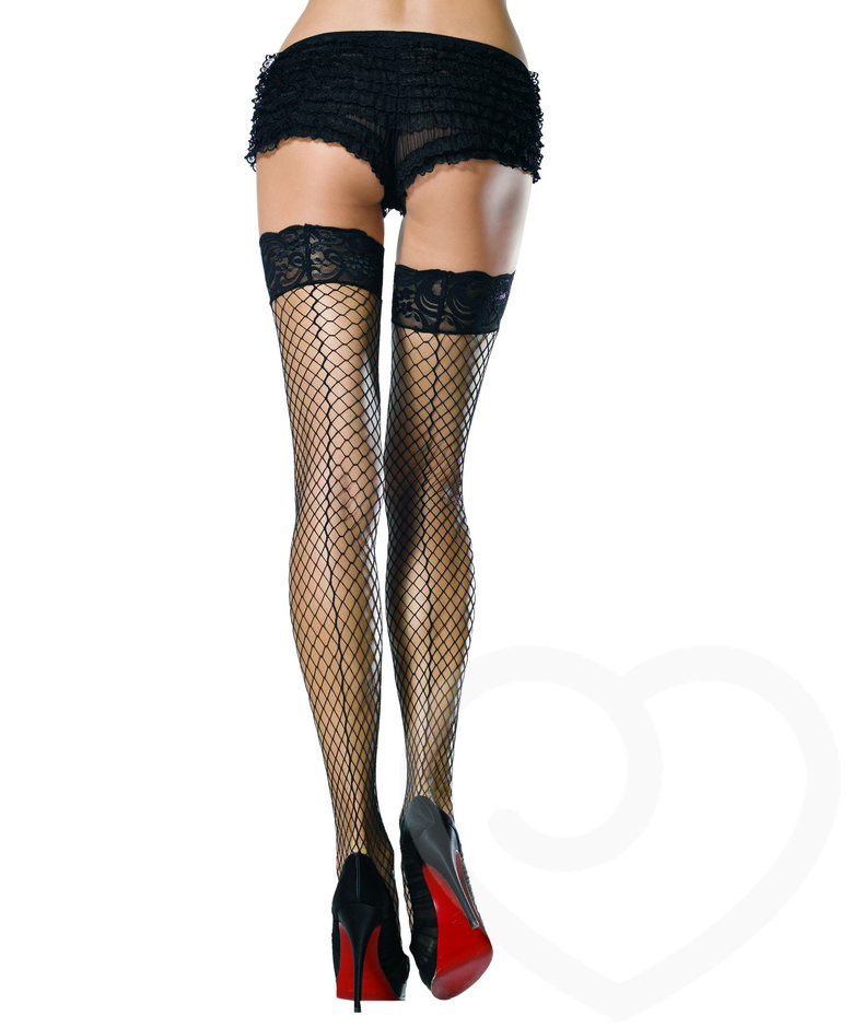 Leg Avenue Thigh High Fishnet Stockings with Stay-Put Lace Tops