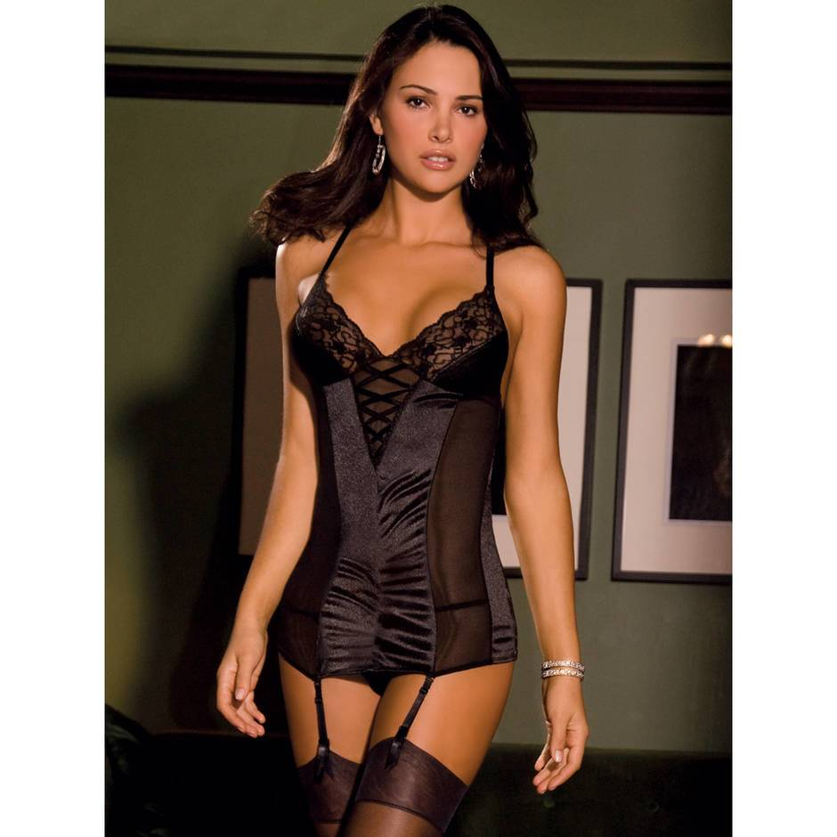 Rene Rofe Satin & Lace Chemise with G-String