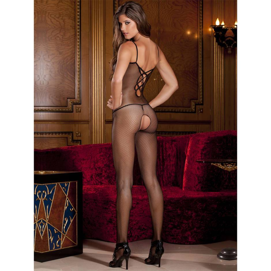 Rene Rofe Criss-Cross Strap Crotchless Fishnet Bodystocking